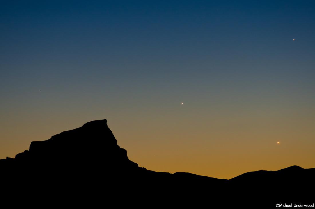 Jupiter, Mercury, Venus and Uncompahgre Peak